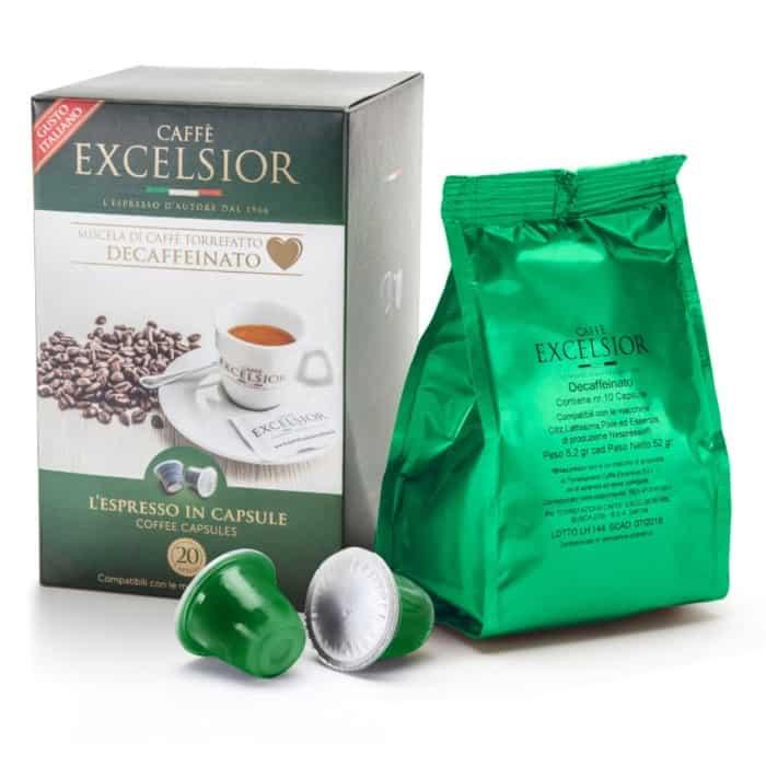 Capsule cafea Excelsior – Decaffeinato, Compatibile Nespresso, 20 capsule, 104g